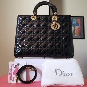 Lady dior large black patent leather bag